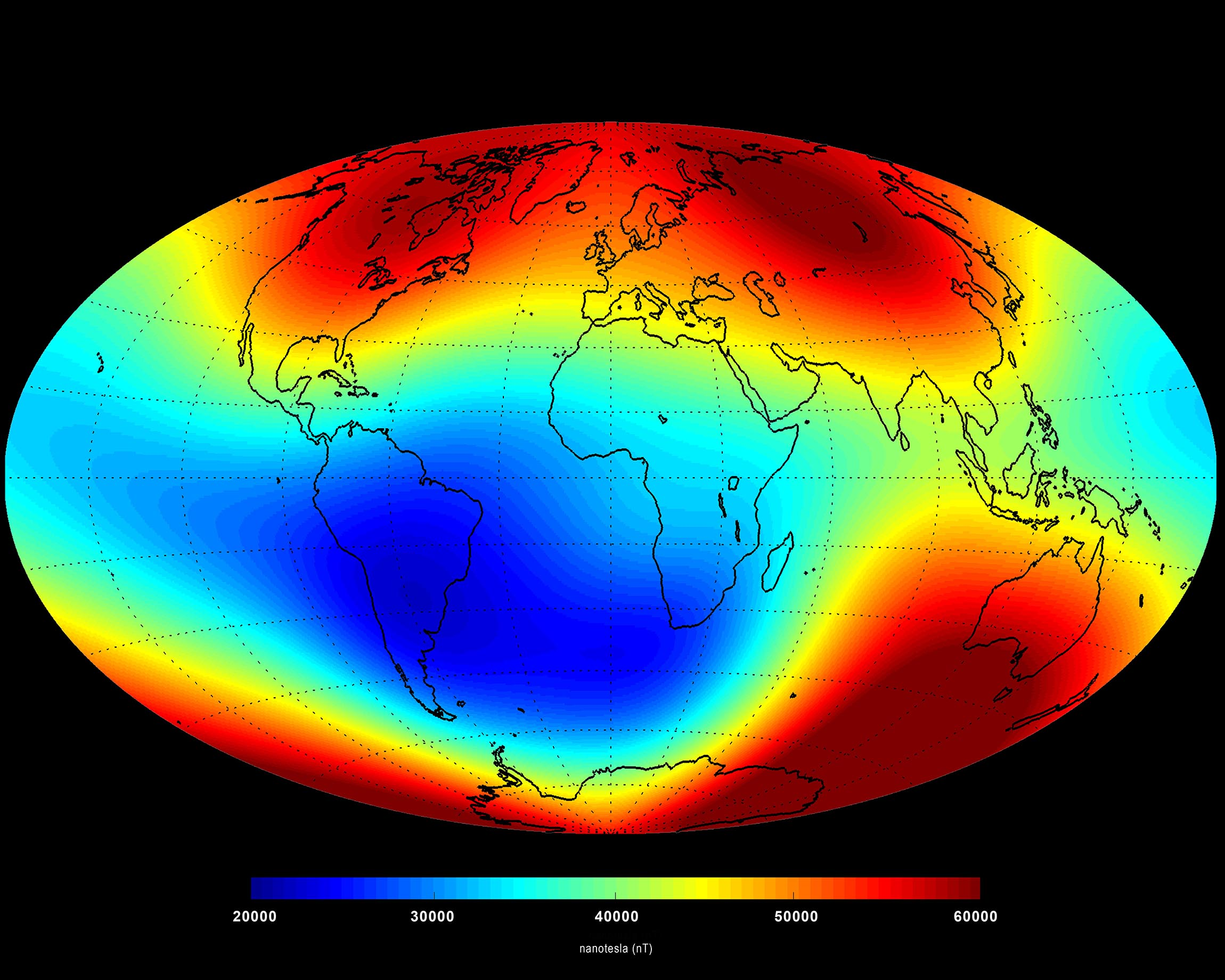 The Earth's magnetic field has been weakening over the South Atlantic (blue region). Image credit - ESA/DTU Space