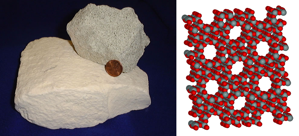 The CO2 breathed by astronauts aboard the ISS is captured by using a sponge-like mineral called a zeolite. Image credit - Pictures are in the public domain