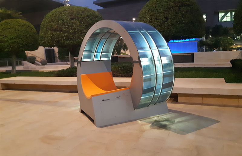Films containing organic solar cells means they can be integrated into everyday objects such as benches. Image credit - ARMOR/GerArchitektur