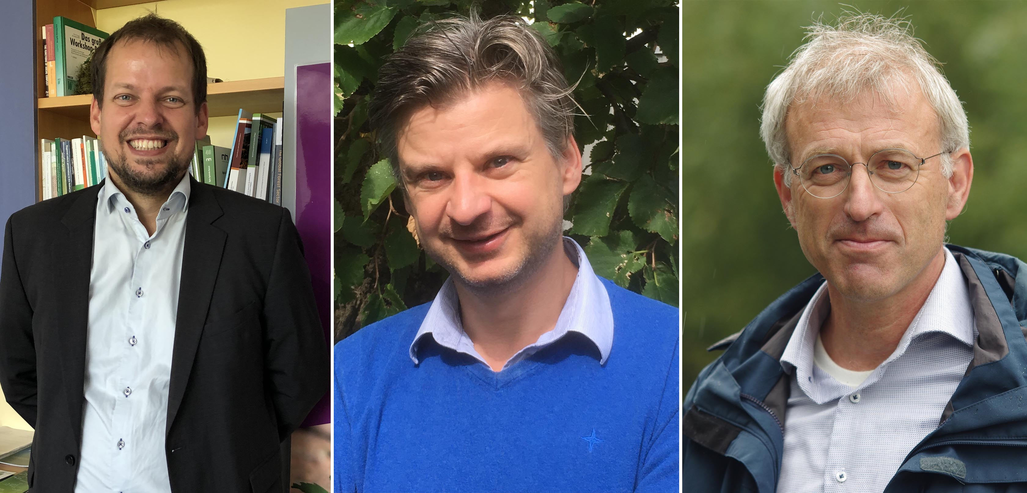 From left to right: Professor Georg Winkel, Professor Erik Meers, and Dr Wouter Helmer. Image credit - Jose Bolaños, Prof. Erik Meers, Rob Buiter