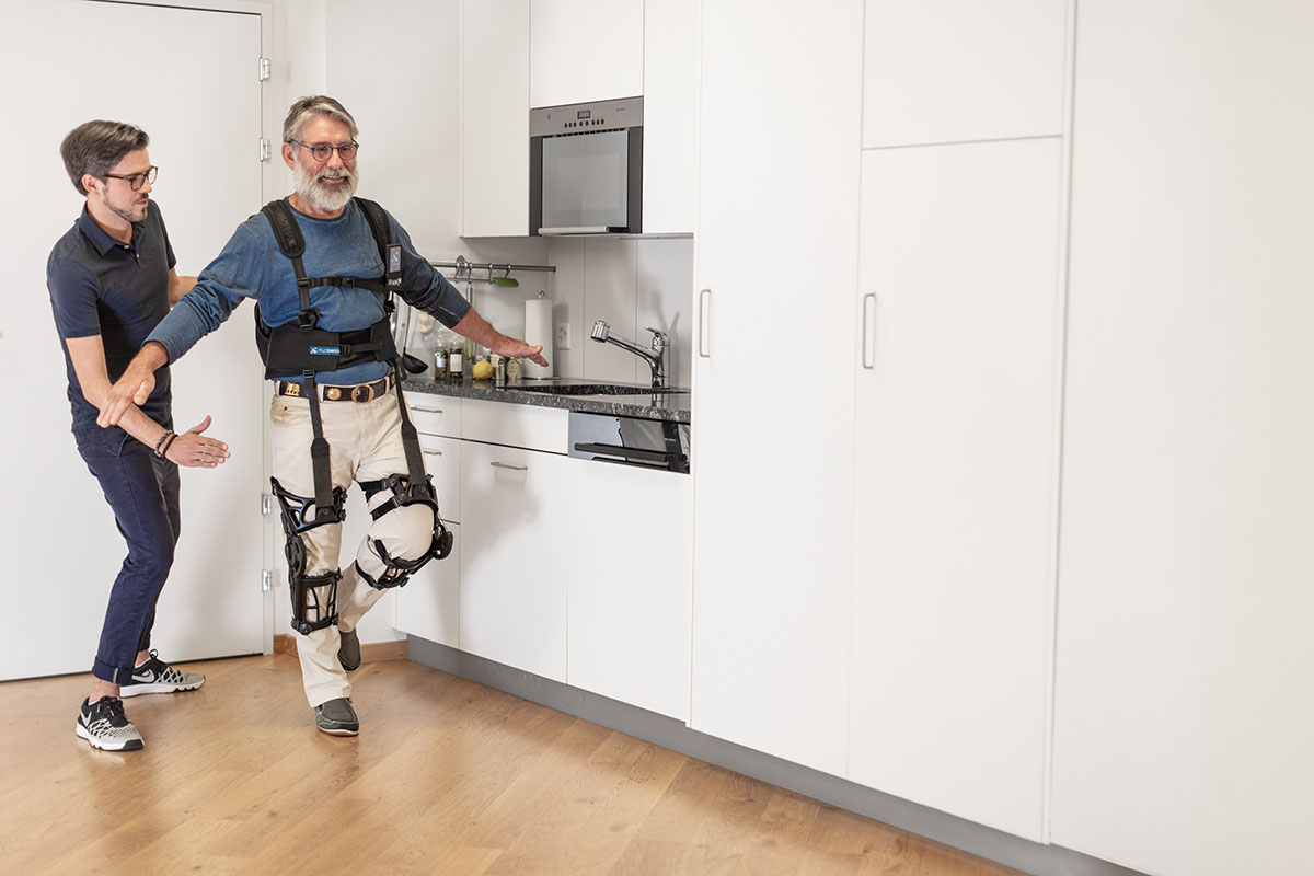 The Myosuit enables people to continue moving and preserve, or even improve, their muscle function. Image credit - MyoSwiss AG