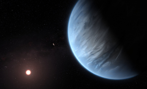 The habitability of a super-Earth could be related to its having a magnetic field. Image credit - ESA/Hubble, M. Kornmesser, licensed under CC BY 4.0. Artist's impression of super-Earth K2-18 b