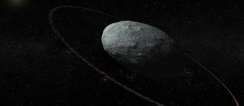 Egg-shaped Haumea was discovered in 2004 but astronomers have just been able to establish that it has a ring. Image credit - IAA-CSIC/ UHU
