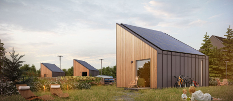 Solar panels help the SOLACE flat-pack houses produce more energy than needed. Image credit - SOLACE