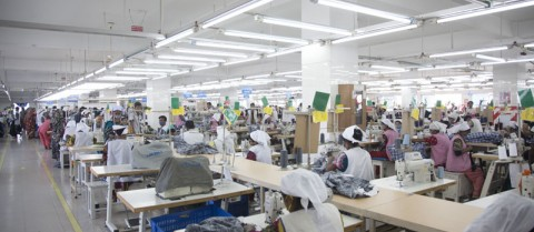 Developing countries such as Bangladesh can protect themselves from shocks by exporting textiles and other products. Image credit: 'NASSA Group AJ Super Garments LTD. RMG production line' by Musamir Azad is licensed under Creative Commons Attribution-SA 3.0