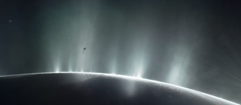NASA's Cassini spacecraft has detected the building blocks of life in geysers hundreds of kilometres above one of Saturn's icy moons, Enceladus. Image Credit — NASA/JPL-Caltech