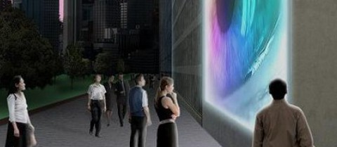 Concrete display screens could be integrated into the walls of buildings. ©Dupont Lightstone