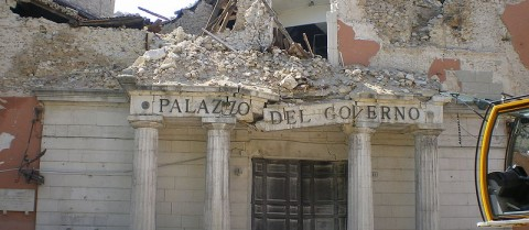 Researchers are looking to the sky to find ways to help search and rescue teams after a disaster. Image credit: 'L'Aquila eathquake prefettura' by TheWiz83 is licensed under CC BY-SA 3.0