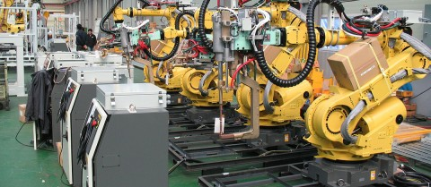 Robots in the workforce will give rise to new jobs for humans, including safety engineers, robot specialists and augmented reality experts, according to researchers. Image credit - 'FANUC robots', by Mixabest - Own work, CC BY-SA 3.0