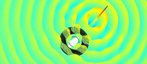 Example of a simulation result of the invisibility cloak for waves (tsunami shield), in 3D and in color. The structure used in the experiment forces the waves to go around the central zone. This type of structure could be a new way to preserve certain areas of erosion or protect marine facilities such as oil platforms. © CNRS Photothèque - ENOCH Stefan, GUENNEAU Sébastien, FARHAT Mohamed, MOVCHAN A.