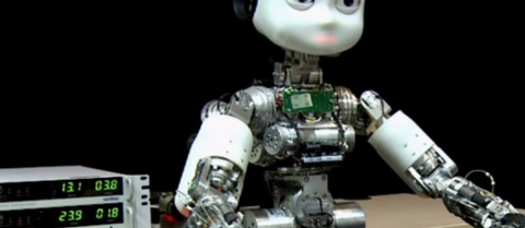 Researchers use artificial neural networks to enable the iCub robot to generalise the concept of a cup. Image courtesy ITALK