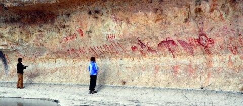 Scientists believe that rock art sites were chosen for their visual and acoustic properties. Image credit - Curt Harrell