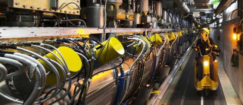 The next particle accelerator will be three times larger than the LHC, with double-strength magnets enabling researchers to smash particle beams together with a power equivalent to 10 million lightning strikes. Image credit: CERN