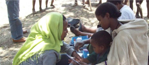 Researchers carrying out a field study on leishmaniasis and malnutrition in children in Amhara State, Ethiopia. Image courtesy of Dr Javier Moreno, Instituto de Salud Carlos III, Madrid, Spain.