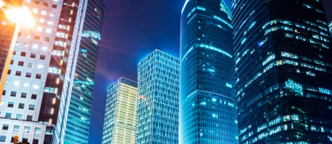 The energy consumed by office buildings in modern cities could be dramatically reduced if high-temperature superconducting transmission cables can be produced. © Shutterstock/ zhu difeng