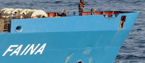 The MV Faina cargo ship was hijacked by pirates in 2008. Image credit: 'MV-Faina-Pirates' by the U.S. Navy is in the pubic domain