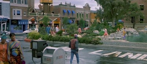 Marty McFly crosses Hill Valley's Courthouse Square just after arriving in 2015. Image credit: Universal Studios