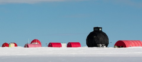 Researchers spend months out on the ice drilling for ice cores. Image Tim Burton