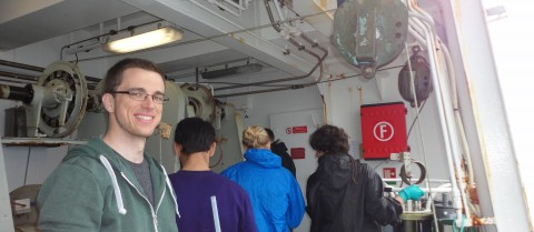 PhD student Urban Wünsch learned valuable lessons on a training trip aboard the Danish research ship Dana. Image credit: Urban Wünsch