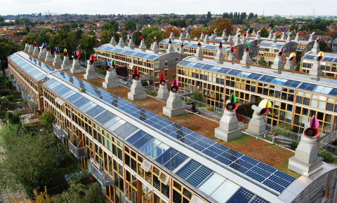Researchers in Europe are trying to work out how record-breaking solar cells contacts can be mass-produced. BedZed Eco village. Image credit: Flickr- Bioregional International, licensed under CC.