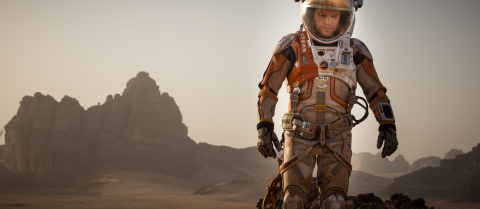 In the science fiction movie The Martian, an astronaut is accidently left on Mars yet manages to survive. Image credit: Aidan Monaghan - TM & © 2015 Twentieth Century Fox Film Corporation