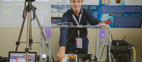 Valerio Pagliarino won first prize in the European Union Contest for Young Scientists for his laser-based broadband internet connection prototype. Image courtesy of the European Union