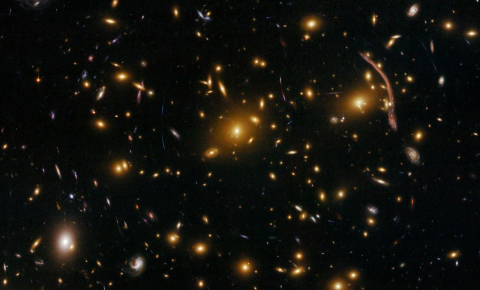 Gravitational lensing in galaxy clusters such as Abell 370 are helping scientists to measure the dark matter distribution. Image credit - NASA, ESA, the Hubble SM4 ERO Team and ST-ECF