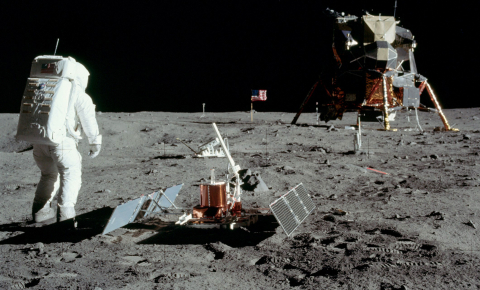 The first seismometer on the moon, with solar panels and an antenna pointed at Earth, was placed there by Apollo 11 astronauts and tested by Buzz Aldrin stamping his foot. Image credit - NASA