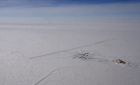 Scientists will have to drill at a depth of nearly 3km to retrieve some of the oldest ice that can tell us about the past and future of climate. Image credit - NASA/Michael Studinger