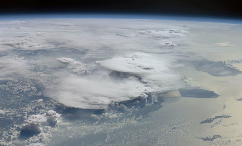 Tropical thunderstorm clouds are unique because they self-organise even when the conditions below and above them are uniform, and do so with 'memories' of past formations. Image credit -  NASA Johnson Space Center