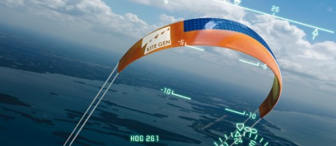 The engineering research and development organisation Sequoia Automation of Turin in Italy is testing a prototype under its KiteGen brand which could produce the same amount of energy as a wind farm with four turbines. Image courtesy of Kite Gen Research.