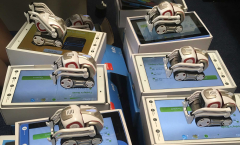 Cozmo robots and their corresponding tablets are being distributed to participants to take home so that they can interact with them for a week for an experiment being carried out by social robotics professor Emily Cross. Image credit - Ruud Hortensius and Emily Cross
