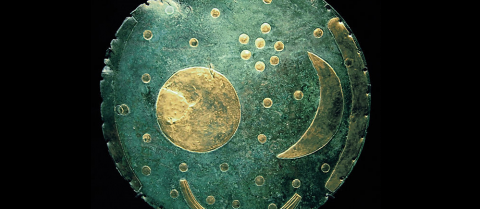 Researchers believe a calendar sky disc from Bronze Age Germany has tin that came from Cornwall, UK. Image credit: 'Nebra Scheibe' by Dbachmann is licensed under Creative Commons BY 3.0