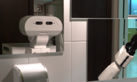 A robot 'recognises' itself in the bathroom mirror. Image credit - Pablo Lanillos