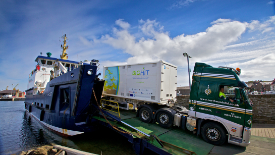 Trucks on Orkney carry hydrogen produced by wind- and tide-powered electrolysis in special lightweight high pressure cylinders, designed to adhere to the low weight limit of the island roads. Image credit: Colin Keldie for BIG HIT