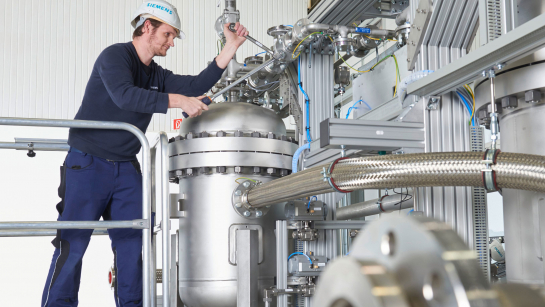 Using a proton exchange membrane electrolyser to produce hydrogen from renewable electricity and water can help industry slash emissions. Image credit - Siemens