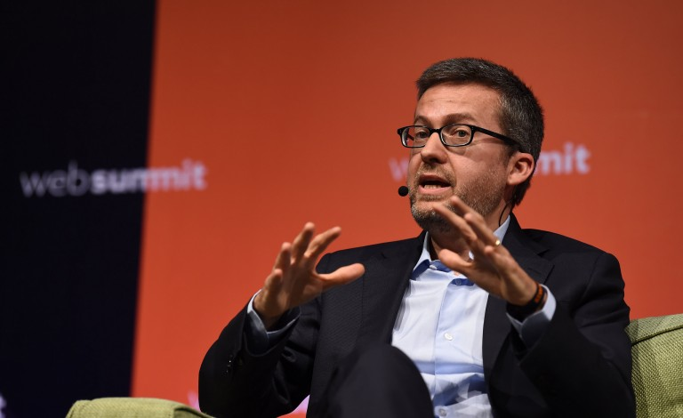 Commissioner Moedas says that political leaders should talk more about science and innovation. Credit – Flickr/ Web Summit