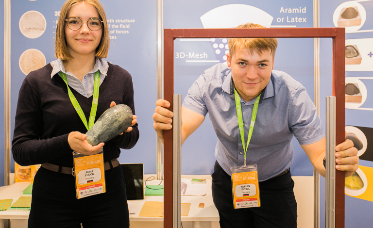 Siblings Anna Amelie and Adrian Fleck, who developed body protection made from starch, took home top prize at this year's European Union Contest for Young Scientists. Image credit - European Commission