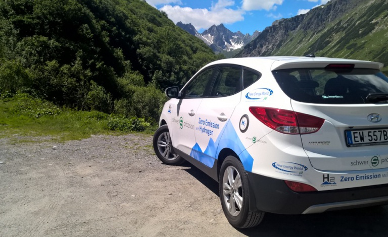 Hydrogen-powered vehicles and refuelling stations are popping up around Europe in an effort to reduce air pollution. Image courtesy of HyFIVE