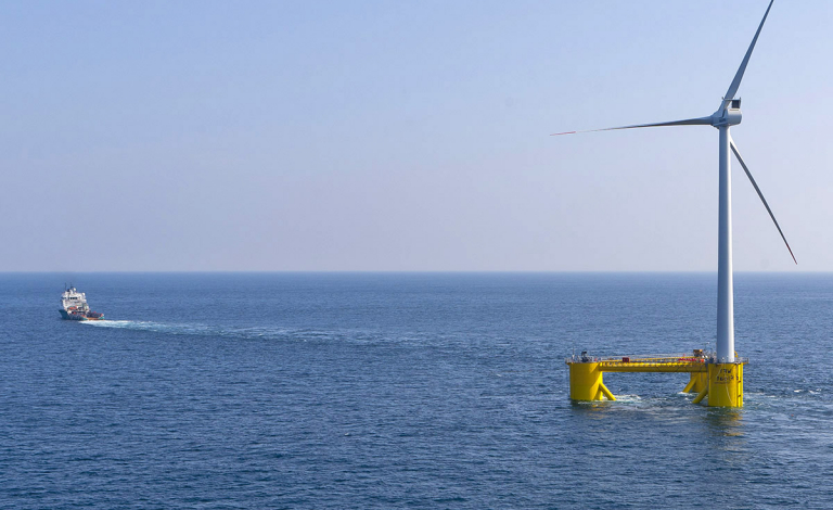 Advocates of floating offshore wind platforms say they are cheaper to run and install, less disruptive to sea life, and have greater output than near-shore alternatives. Image credit - WindFloat