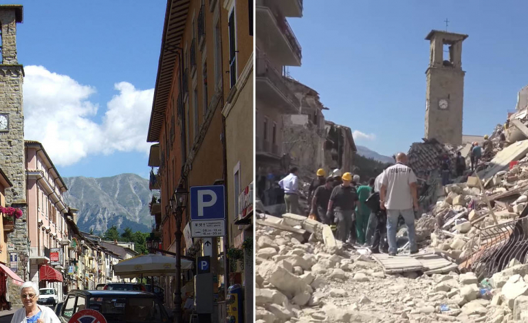 A 6.2-magnitude earthquake in Amatrice, Italy, in August 2016 killed nearly 300 people. Image credit - Amatrice Corso by Mario1952 is licensed under Creative Commons CC-BY-SA-2.5 and 2016 Amatrice earthquake by Leggi il Firenzepost is licensed under CC BY 3.0