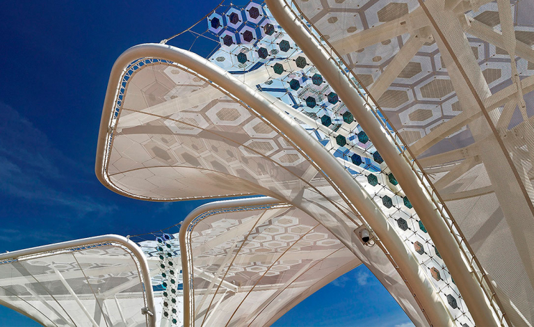 Organic 'solar trees', demonstrated at Expo 15 in Milan, Italy, give a glimpse of lightweight, flexible solar cells in action. Image credit - ARMOR/GerArchitektur
