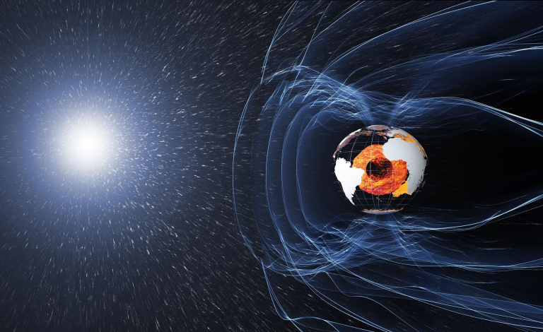 The magnetic field protecting our planet originates deep in the Earth's core but fluctuates in strength over time. Image credit - ESA/ATG medialab