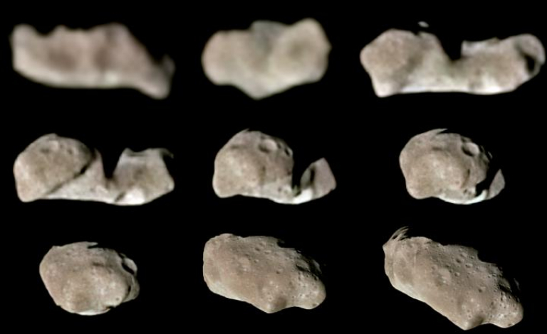 The shape of asteroids such as 243 Ida can reveal information about what they're made of, which can, in turn, tell us more about the formation of the solar system. Image credit - NASA/JPL/USGS