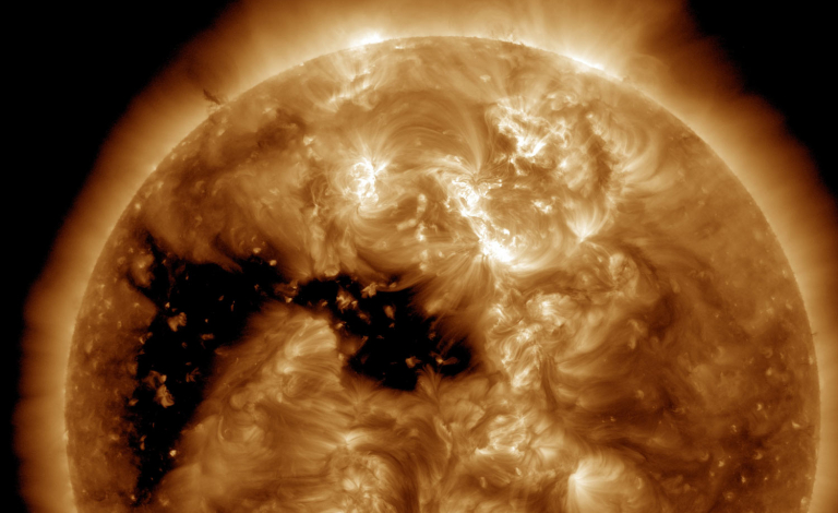 During high periods of solar activity, the sun flings off massive chunks of changed plasma which can severely damage technological infrastructure on Earth. Image Credit - NASA/SDO and the AIA, EVE, and HMI science teams.
