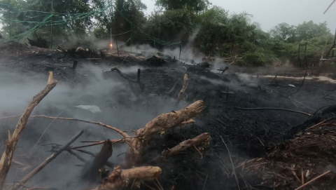 The peat fire in the field experiment in Dumai, South Sumatra, continued to burn after three days of torrential rain. Video/image credit - Yulianto Sulistyo Nugroho