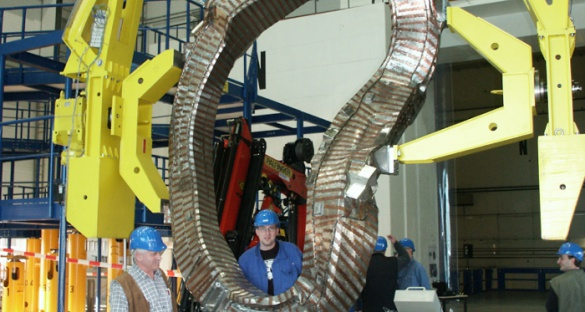 The Wendelstein 7-X consists of 50 stellarator magnet coils, one of which is seen here. The design of the coils help scientists fine-tune the magnetic field in the reactor to see how the plasma behaves.  Image courtesy of the Max-Planck-Institute for Particle Physics
