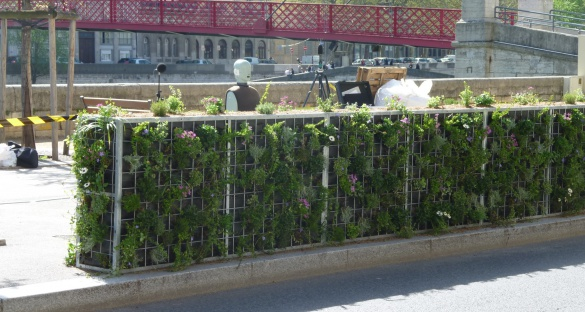One way of increasing greenery in a city is to use vegetation to form noise-blocking partitions. The HOSANNA project conducted listening experiments around different structures in Lyon, France, to see how much people noticed unwanted noise – such as traffic – compared to pleasant noises – such as birdsongs or moving water. They then created a computer model to predict which barriers would best keep out unwanted noise. Image courtesy of HOSANNA