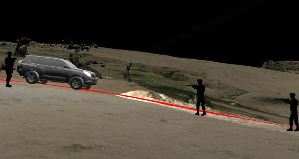 The autopsy of the driver revealed that he had been shot in the leg by the police officer on the far right of this image, which probably caused him to release the brake pedal. A model of the car's trajectory under such a situation showed that this would have caused the car to accelerate downhill and cast doubt on the likelihood that the driver had accelerated deliberately. Image credit - Forensic Architecture