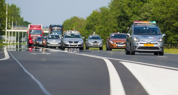 In the 2011 Grand Cooperative Driving Challenge, cars of different makes and models drove together in a platoon to simulate realistic future driving scenarios. Image courtesy: i-GAME